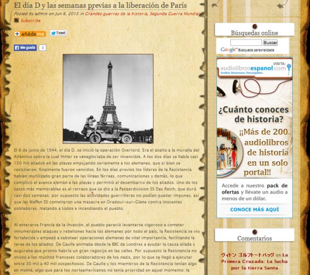 Captura de pantalla de uno de los artículos de este gran proyecto bloguero