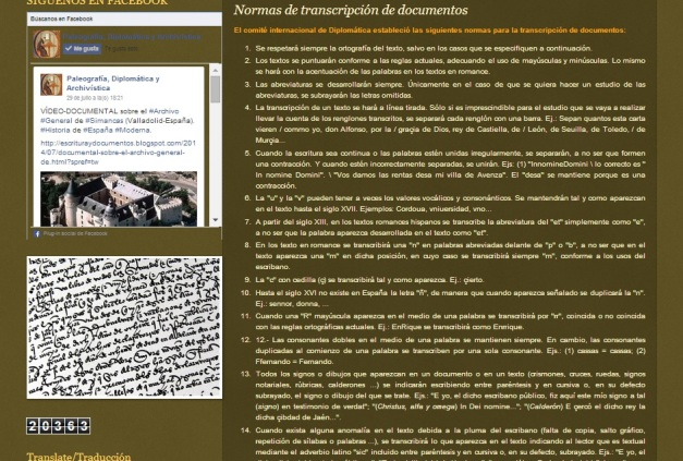Captura de pantalla del blog en el que se observan algunas de las normas de transcripción paleográfica