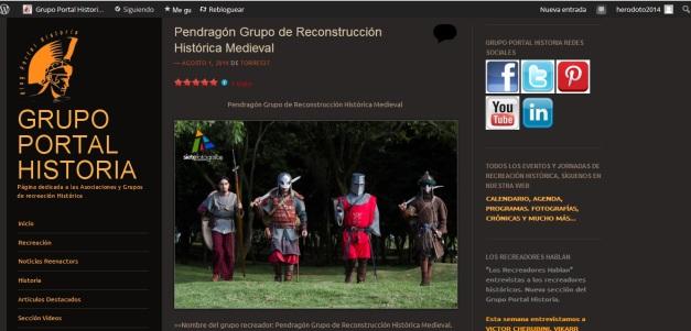 Captura de pantalla en el que se puede ver el artículo dedicado a un grupo de recreación medievalista