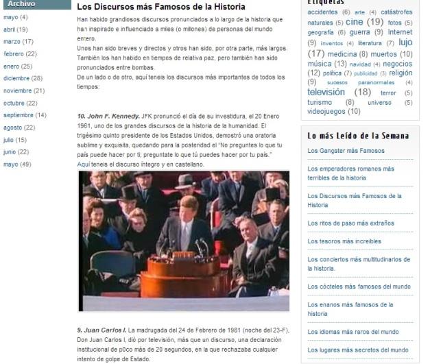 Captura de pantalla en la que se puede el artículo sobre los discursos más famosos de la Historia