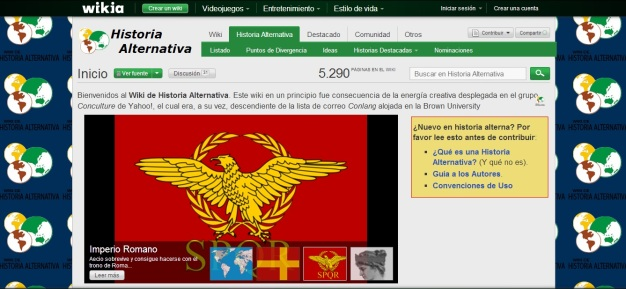 Captura de pantalla general de este blog de Historia alternativa