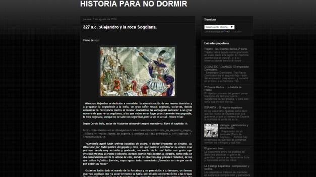 Captura de pantalla general de este blog de Historia militar