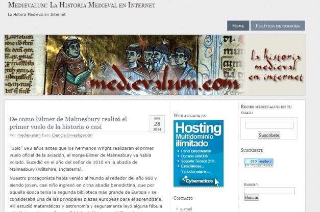 Captura de pantalla general de este gran blog de Historia medieval