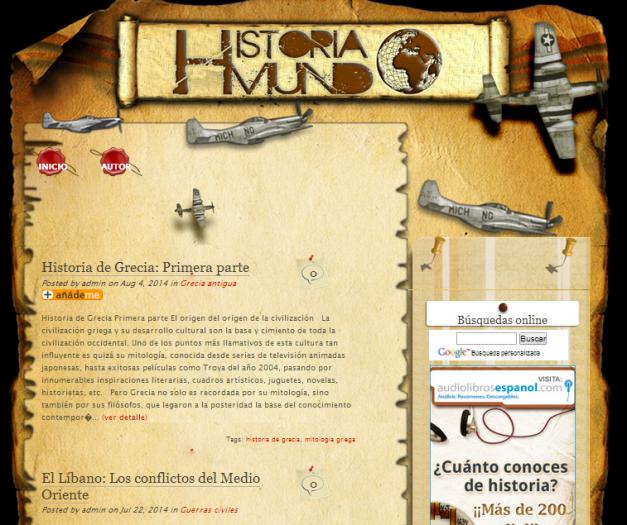 Captura de pantalla general de este gran blog de Historia mundial