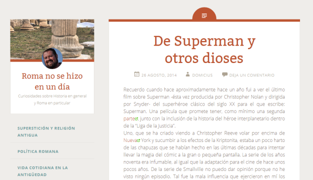 Captura de pantalla general de este gran blog reciente de Historia de Roma