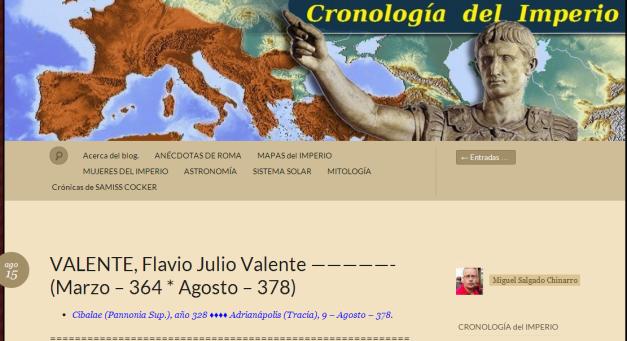Captura de pantalla general de este gran blog romano cronológico
