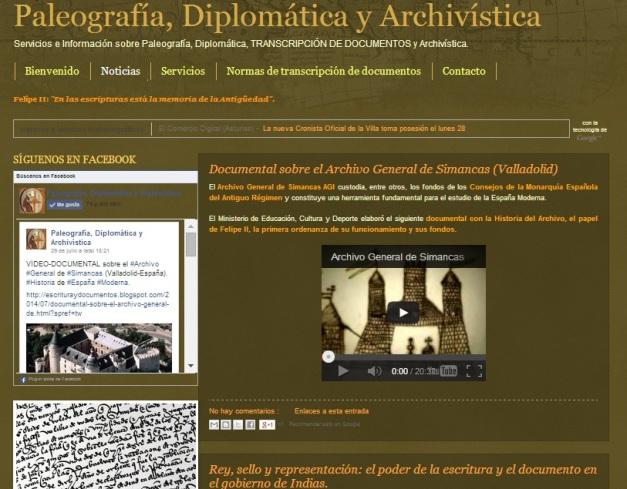 Captura de pantalla general de la portada de este blog