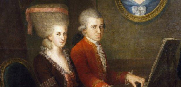Cuadro en el que se puede observar a la pareja formada por Constance Weber y Mozart