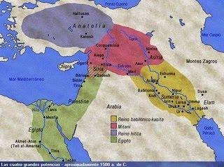 Cuatro de las grandes potencias que se repartían Oriente Próximo a mediados del segundo milenio