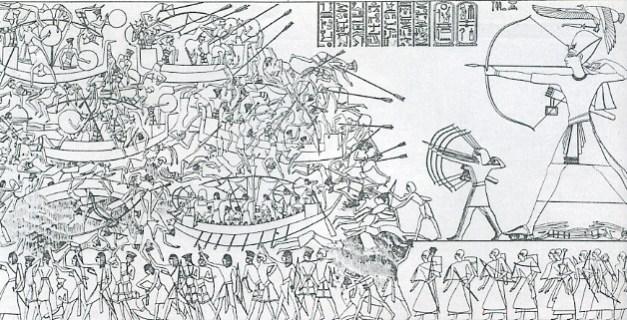 Dibujo que muestra la supuesta batalla del Delta entre Ramses III de Egipto y los pueblos del mar, hallado en un templo de Tebas