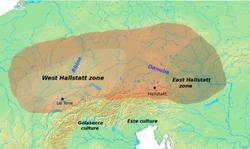 Extensión aproximada en Europa de la cultura del Hallstatt, la más relevante de la Primera edad del Hierro