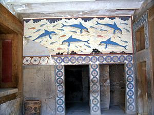 Frescos de delfines en una de las salas del palacio de Cnoso