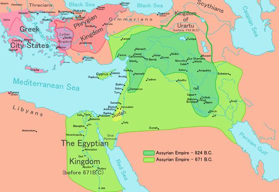 Mapa aproximado de la extensión territorial de Asiria entre el 824 y el 671 a.C.