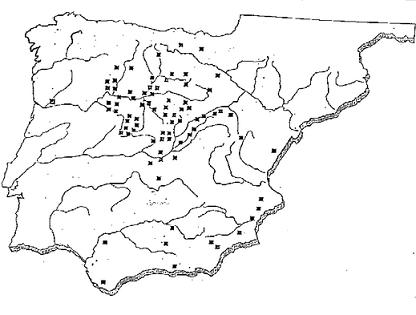 Mapa de la Península Ibérica que muestra la distribución de hallazgos de cerámicas de Cogotas I en los años 80