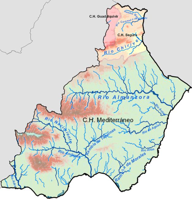Mapa de los ríos de la provincia de Almería, en el que se ven los ríos mencionados