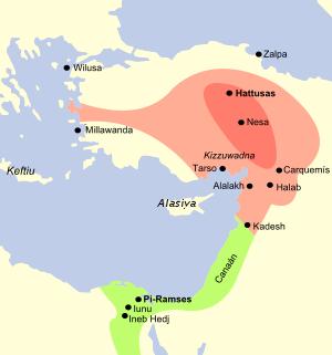 Mapa que muestra en rojo la extensión máxima a la que llegó el imperio hitita