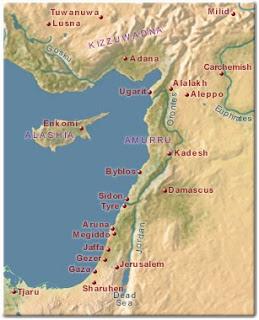 Mapa próximo oriental que muestra los sitios en los que se ha hallado cerámica micénica