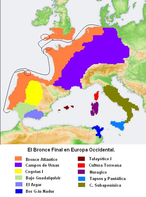 Mapa que muestra en diversos colores la extensión aproximada de los complejos culturales de la edad del Bronce final