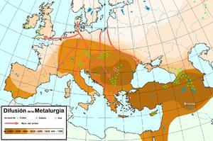 Mapa que muestra la difusión de la metalurgia del Bronce por Europa