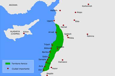Mapa que muestra la extensión aproximada de Fenicia en la franja sirio palestina