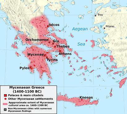 Mapa que muestra la extensión aproximada que ocuparía el mundo micénico, antecesor de las polis griegas