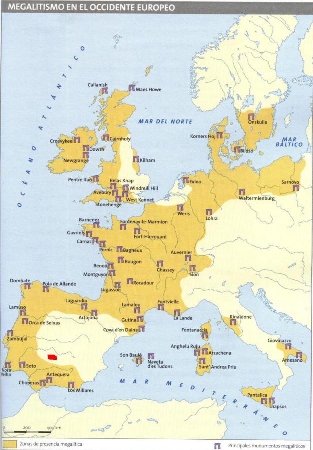 Mapa que muestra la extensión y principales yacimientos del megalitismo europeo