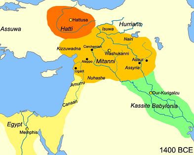 Mapa que muestra los cuatro grandes imperios de Próximo Oriente en el 1400 a.C.