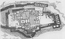 Plano visto desde el aire de lo que sería el palacio de Tirinto