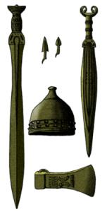 Reconstrucción de algunas piezas del conjunto armamentístico de la cultura de los túmulos armoricanos, en Francia