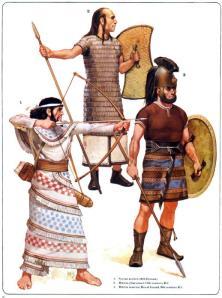 Reconstrucción de cómo debió ser la vestimenta y equipación de diferentes hititas
