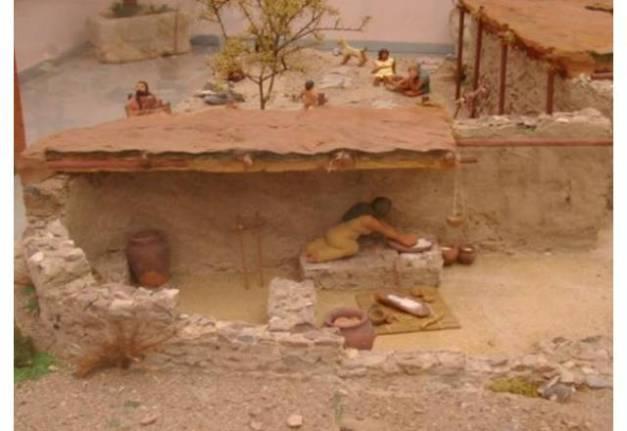 Reconstrucción en forma de maqueta de cómo sería una casa de Los Cipreses