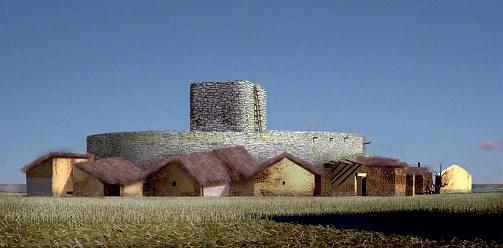 Reconstrucción ideal de cómo sería una motilla del Bronce de la Meseta Sur