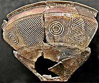Trozo de pieza cerámica del Bronce final de la cultura de Cogotas I, en la Meseta central