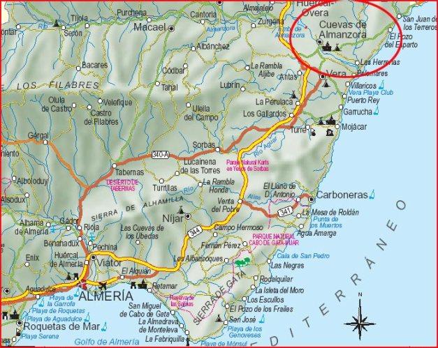 Ubicación de Cuevas del Almanzora en un mapa de la provincia de Almería