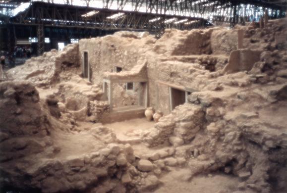 Vista general del yacimiento de Akrotiri
