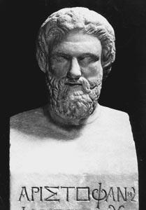 Busto que se conserva con la figura de Aristófanes, el principal escritor de comedias de la Antigua Grecia
