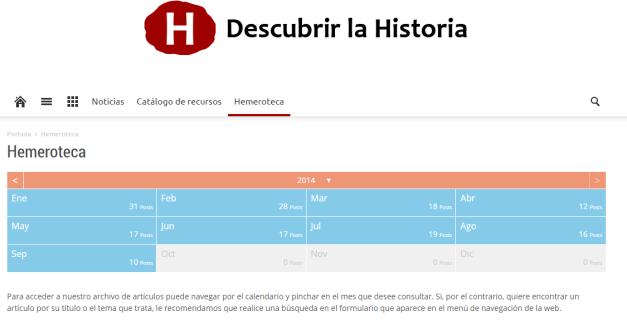 Captura de pantalla de la sección Hemeroteca de este gran blog
