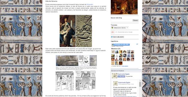 Captura de pantalla de un muy interesante artículo sobre el arte egipcio en el periodo amarniense