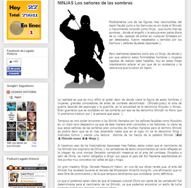 Captura de pantalla de uno de los artículos de este blog de Historia