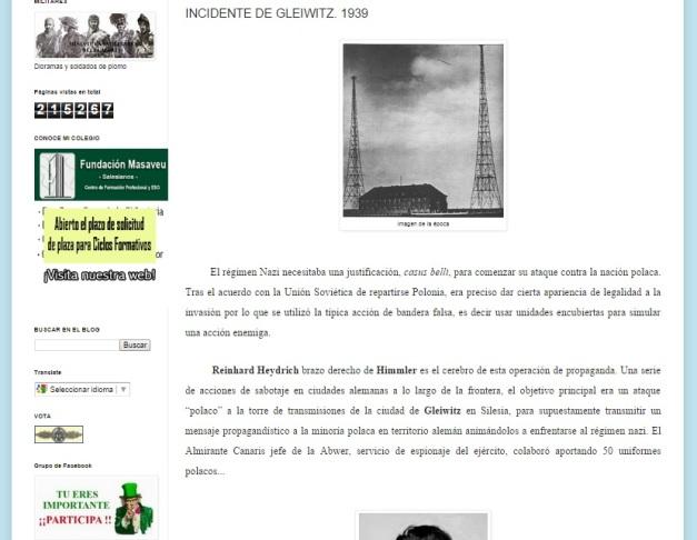 Captura de pantalla de uno de los artículos de este blog, este dedicado al inicio de la II GM