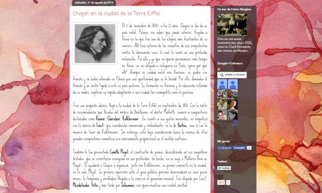 Captura de pantalla de uno de los artículos de este gran blog de difusión cultural y artística decimonónica