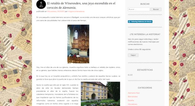 Captura de pantalla de uno de los artículos de este magnífico blog de Historia