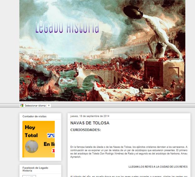 Captura de pantalla general de este blog de Historia
