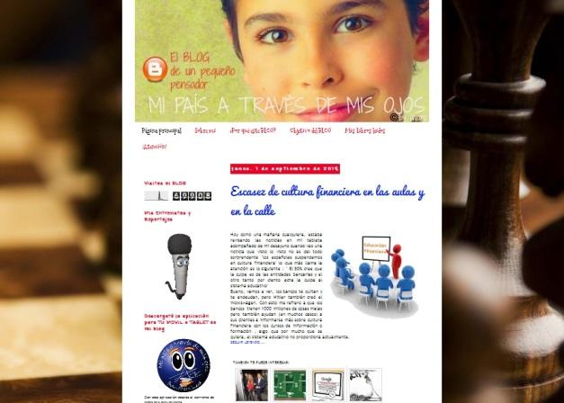 Captura de pantalla general del blog de política de este joven genio