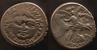 Denario de época republicana, de la gens Plautia, muestra de la numismática romana