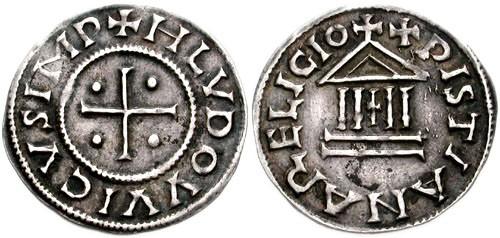 Denario de la época de Luis el Piadoso, llamado también Ludovico Pío