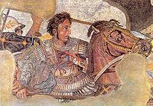 Detalle del mosaico de la Casa del Fauno de Pompeya en la que se puede ver a Alejandro Magno luchando en la batalla de Issos