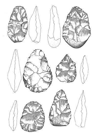 Dibujos que representan hachas de mano halladas en la zona egipcia, del Paleolítico Inferior