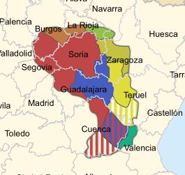 Extensión aproximada que se calcula para la Celtiberia, en la Península Ibérica
