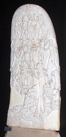Imagen aumentada del mango de un cuchillo decorado, y contextualizado en el periodo Naqada III
